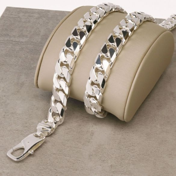 Sterling Silver 11mm Mens Chunky Curb Chain