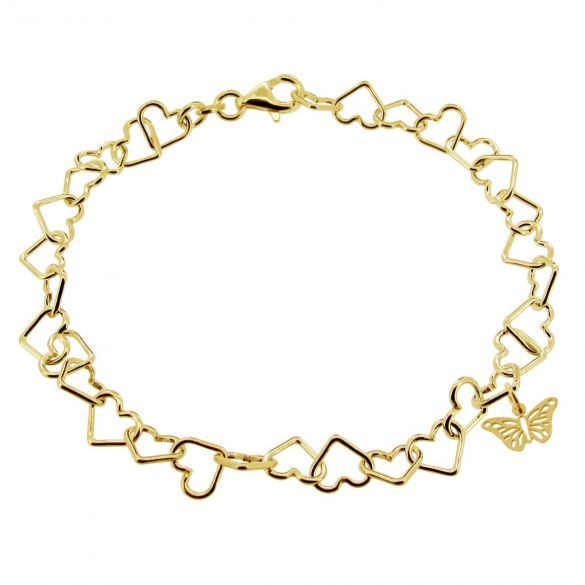 9ct Yellow Gold Plated Light Heart Charm Bracelet With Butterfly Charm