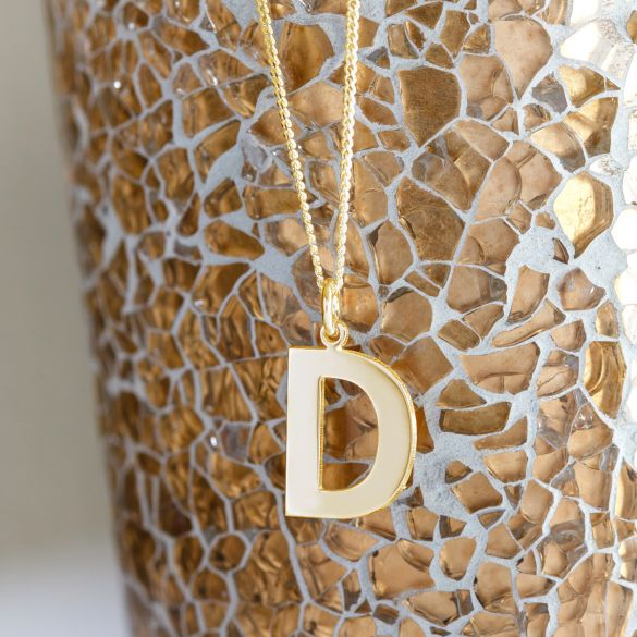 9ct Yellow Gold Plated Block Initial Pendant