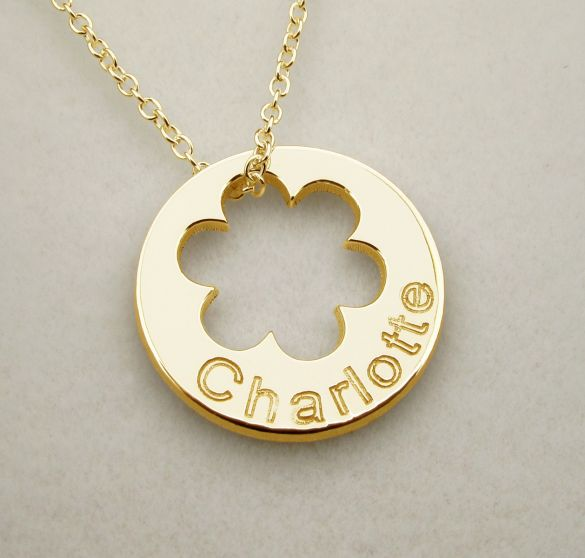 9ct Yellow Gold Plated  Engraved Cut Out Flower Disc