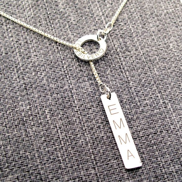 Sterling Silver Tag & Ring Necklace
