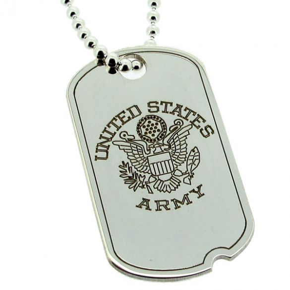 Sterling Silver US Army Style Eagle Large Dog Tag