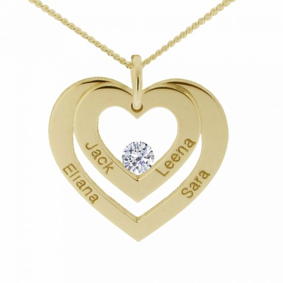 9ct Yellow Gold Plated Double Heart Personalised Necklace With Crystal