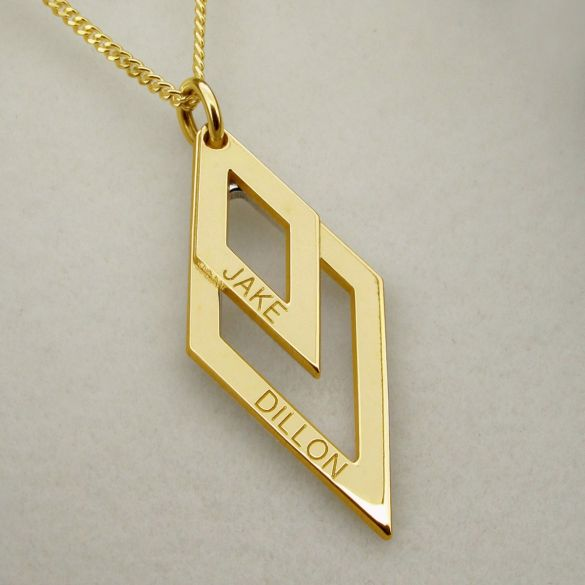 9ct Yellow Gold Plated Engraved Double Diamond Pendant Necklace