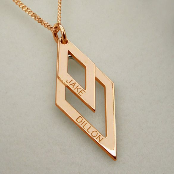9ct Rose Gold Plated Engraved Double Diamond Pendant Necklace