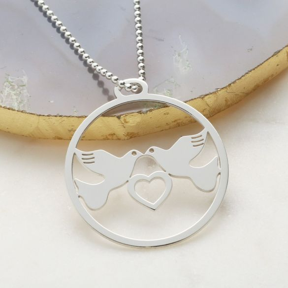 Sterling Silver Love Doves Coin Disc Pendant With Optional Chain