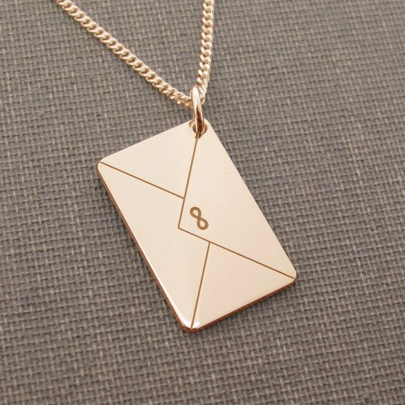 9ct Rose Gold Plated Engraved Envelope Pendant