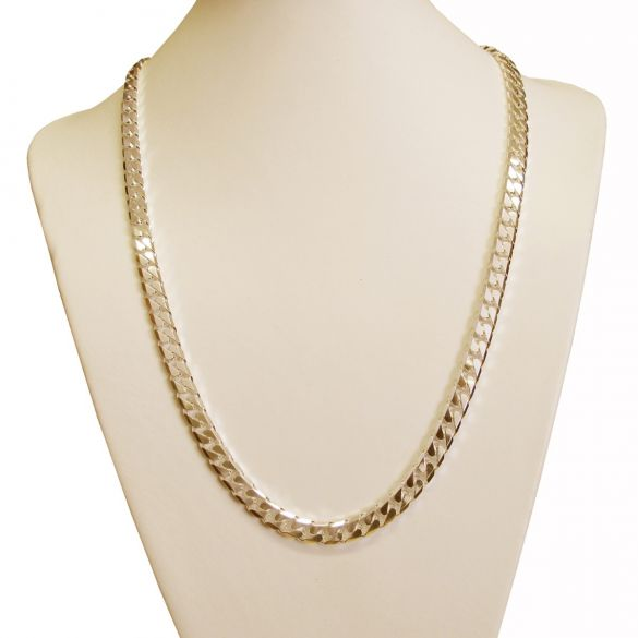 Heavy Chunky Mens 7.2mm Curb Chain 9ct Yellow Gold Plated on Sterling Silver