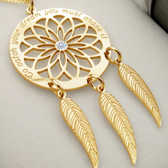 9ct Yellow Gold Plated Dream Catcher and Feathers Necklace With Crystal