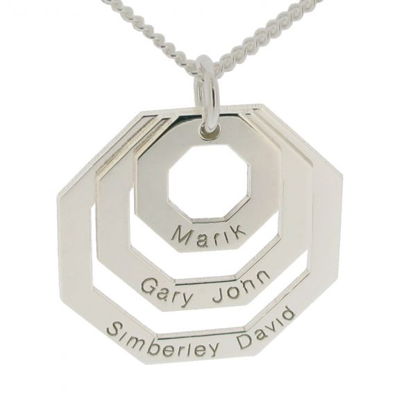 Sterling Silver Art Deco Family Necklace