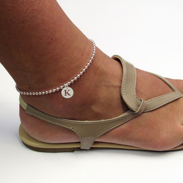 Sterling Silver Bead Ball Anklet With Initial Disc Charm