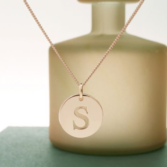 9ct Rose Gold Plated Initial Disc Pendant