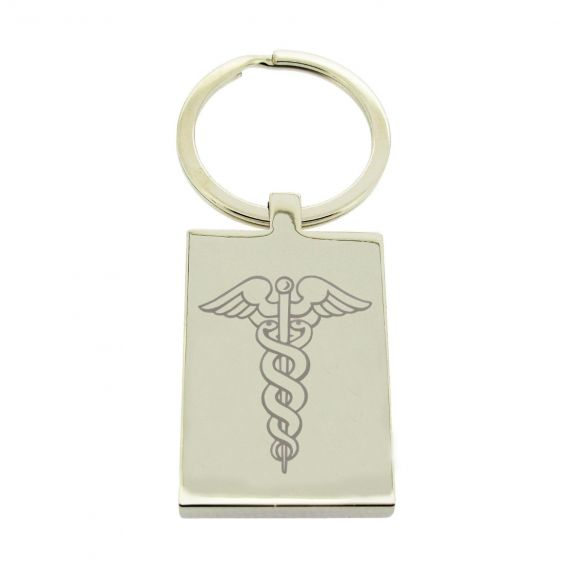 Mirror Polished Rectangle Medic Aware Keyring