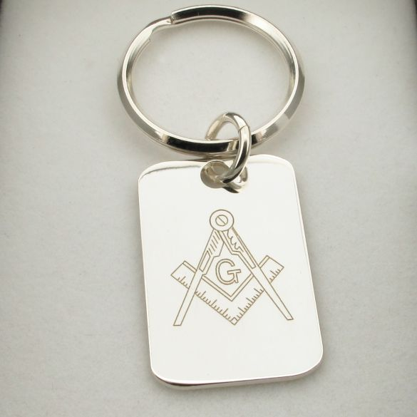 Sterling Silver Masonic Keyring With Engraving