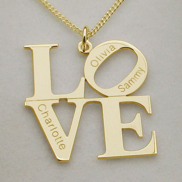 9ct Yellow Gold Plated LOVE Pendant With Optional Engraving