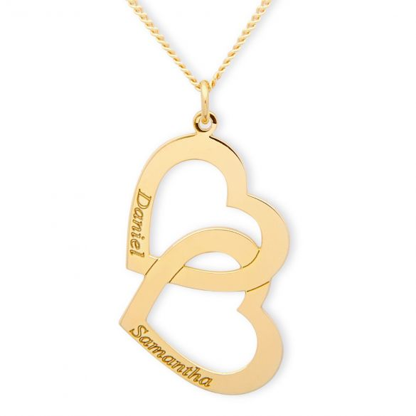 9ct Yellow Gold Plated Engraved Vertical Double Heart Pendant With Chain