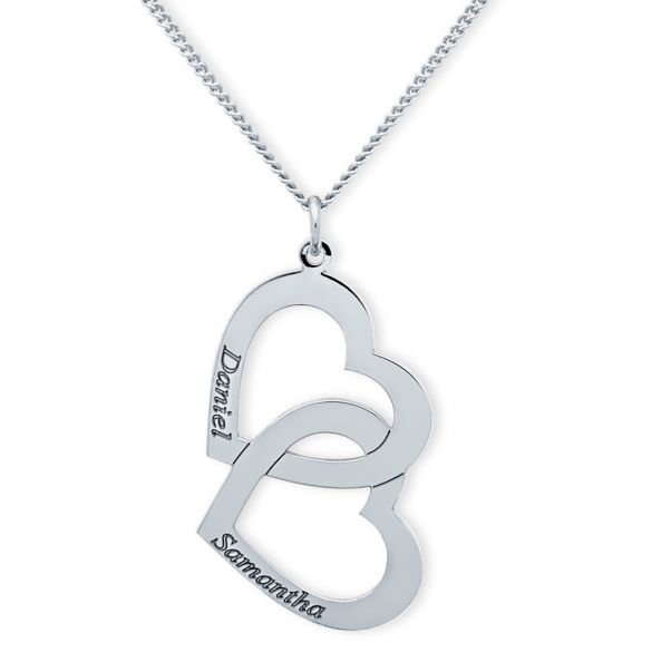 Sterling Silver Engraved Vertical Double Heart Pendant With Chain