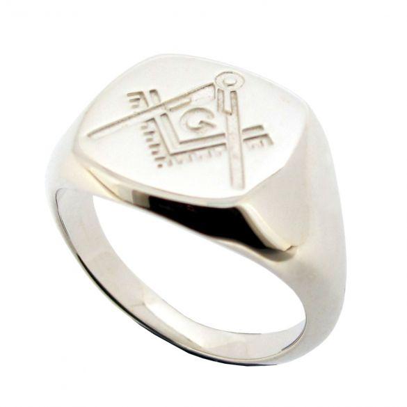 Mens Masonic Ring Sterling Silver