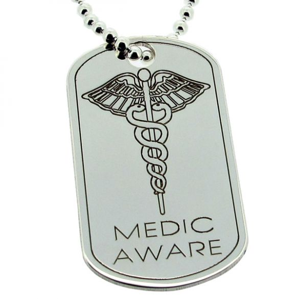 Sterling Silver Medic Aware Eagle Large Dog Tag With Engraving