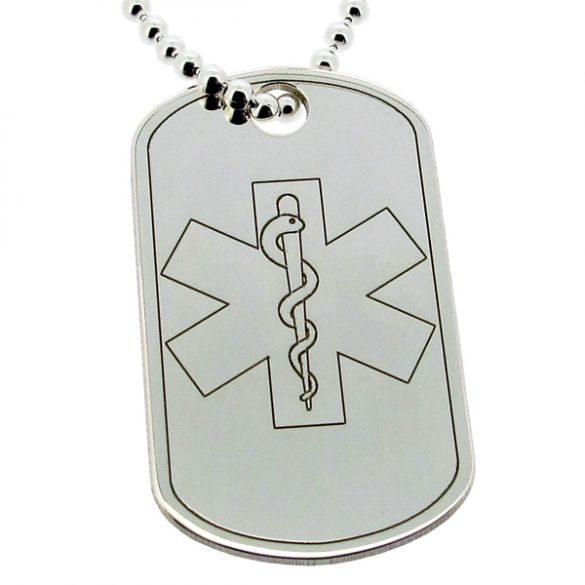 Sterling Silver Medical Alert Snake Large Dog Tag With Engraving