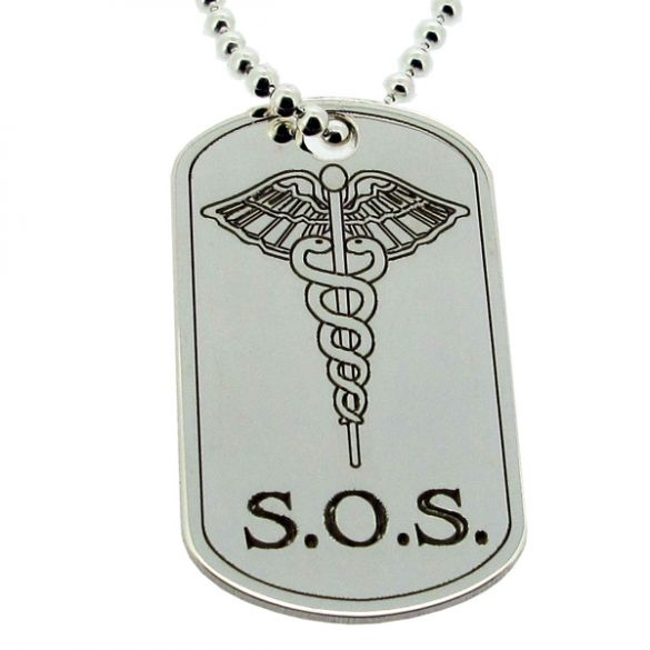 Sterling Silver SOS Medic Aware Large Dog Tag With Engraving