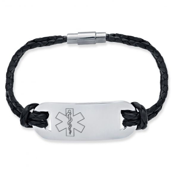 Mens Leather and Stainless Steel Medical Bracelet On Black Leather Bracelet