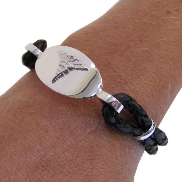 Ladies Leather & Sterling Silver Medical Bracelet