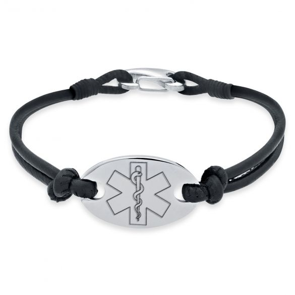 Ladies Leather and Stainless Steel Medical Bracelet On Black Leather Bracelet