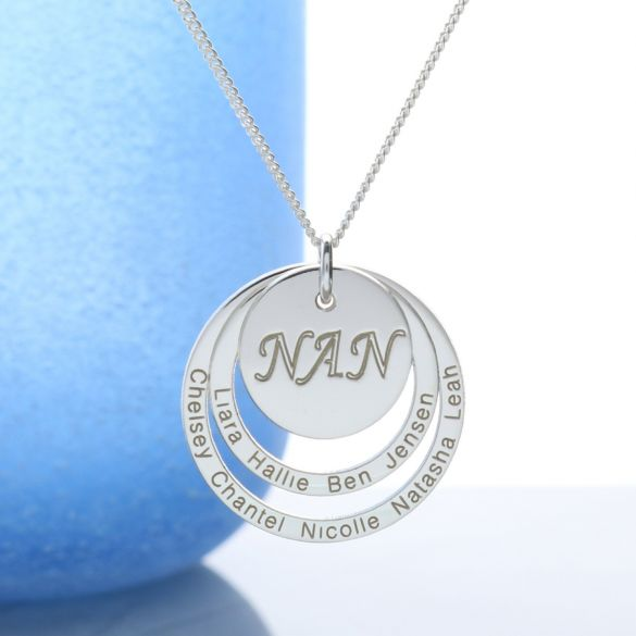 Sterling Silver Engraved Two Disc Nan Pendant Necklace