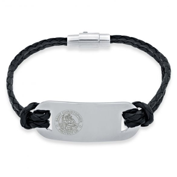 Mens Leather and Stainless Steel  St Christopher Bracelet (Black Leather)