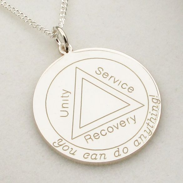 Sterling Silver Engraved Sobriety Unity Service Recovery Pendant