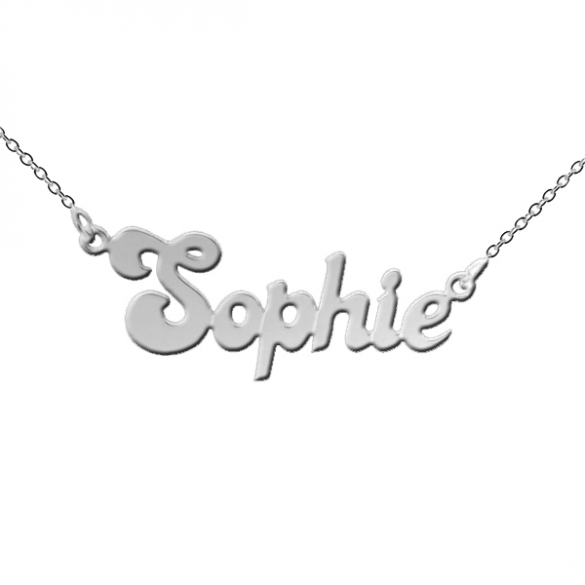 Sterling Silver Banana Split Style Personalised Name Necklace