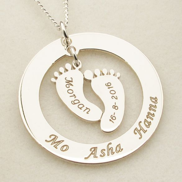 Sterling Silver Family Necklace With Hanging Baby Feet