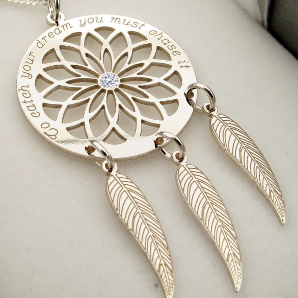 Sterling Silver Dream Catcher and Feathers Necklace With Crystal
