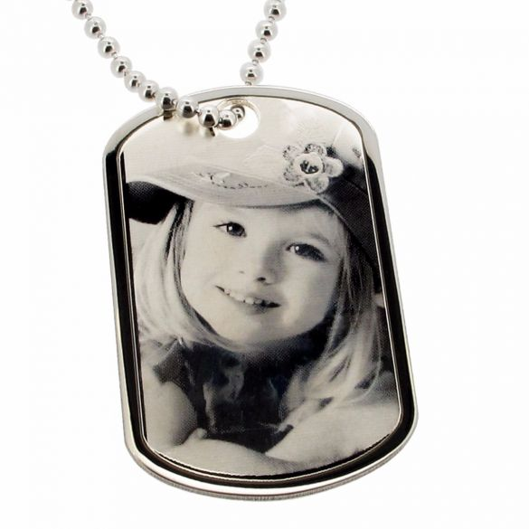 Sterling Silver Large Photo Engraved Dog Tag With Optional Engraving