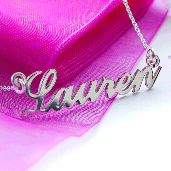 Sterling Silver Carrie Style Personalised Name Necklace (Sex & The City)
