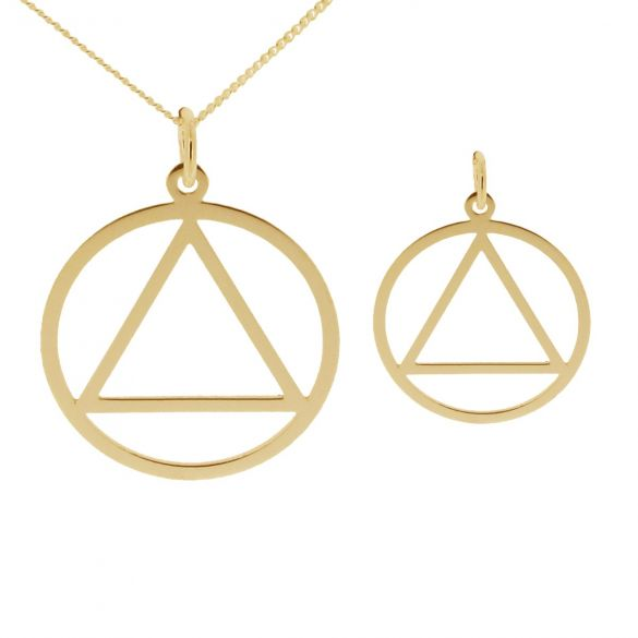 9ct Yellow Gold Plated Sobriety Recovery Pendant