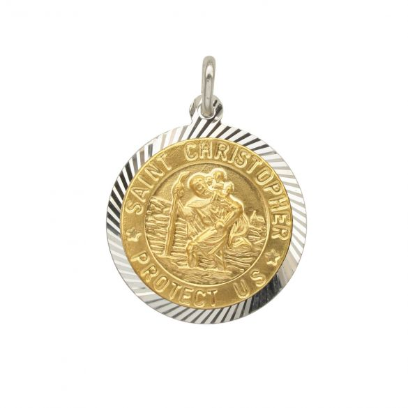 Sterling Silver and Gold Plated 18mm Diamond Cut St Christopher Pendant