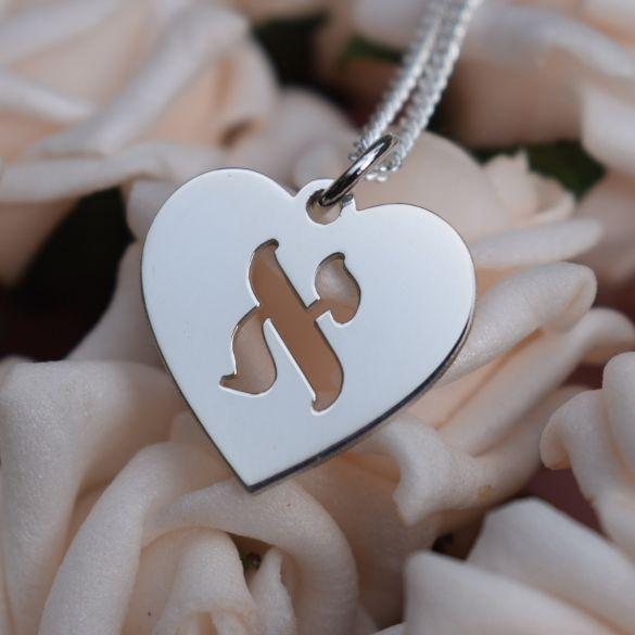 Sterling Silver Hebrew Letter Heart Pendant