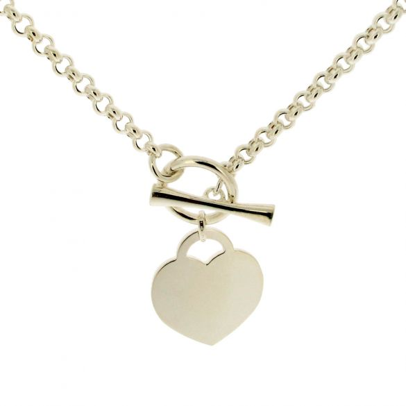 Sterling Silver Ladies T Bar Necklace With Heart Charm and Optional Engraving