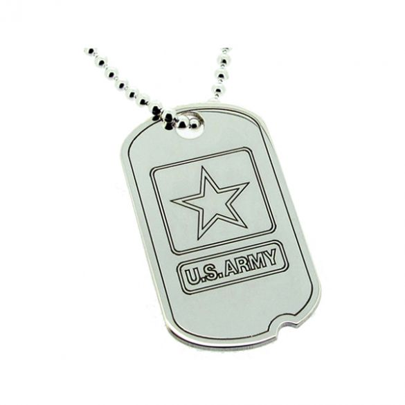 Sterling Silver US Army Style Star Dog Tag