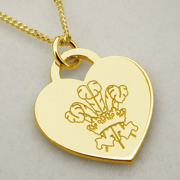 9ct Yellow Gold Plated Engraved Welsh Emblem Heart Pendant