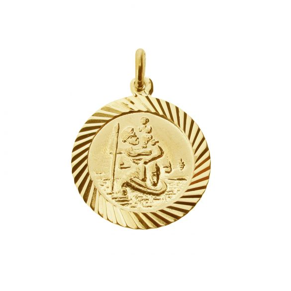 9ct Yellow Gold Plated 16mm Diamond Cut St Christopher Pendant With Optional Personalisation and Chain