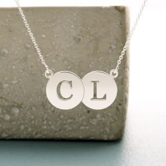 Sterling Silver Initial Double Disc Pendant