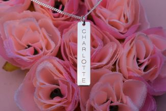 Sterling Silver Engraved Rectangle Tag Pendant and Chain