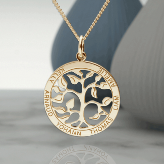 9ct Yellow Gold Plated Filigree Tree of Life Disc Personalised Family Necklace