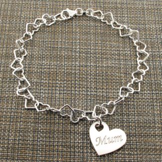 Sterling Silver Light Heart Link Anklet With Personalised Family Heart Charm