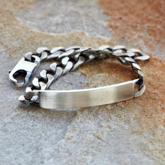 Antique Finish Sterling Silver Mens Curb ID Bracelet With Optional Engraving