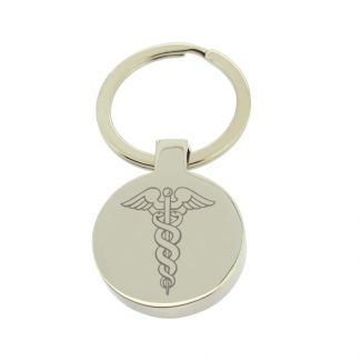 Mirror Polished Round Medic Aware Keyring