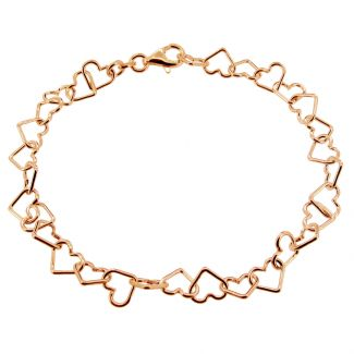 9ct Rose Gold Plated Heart Link Charm Anklet